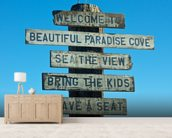 Welcome to Malibu Sign wallpaper mural living room preview