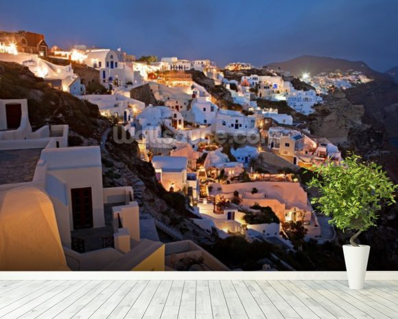 Oia Santorini Greece mural wallpaper room setting