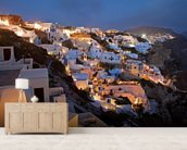 Oia Santorini Greece mural wallpaper living room preview