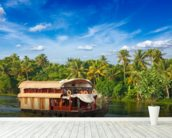 Kerala Houseboat wall mural in-room view