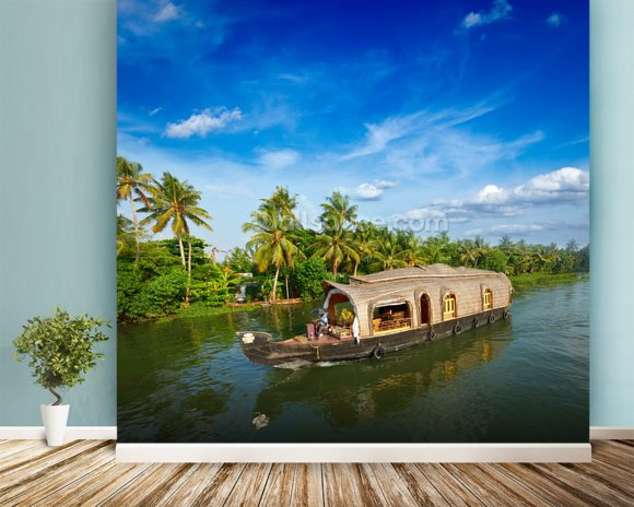 Kerala Backwaters mural wallpaper room setting