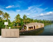 Kerala Backwaters mural wallpaper living room preview