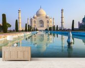 Taj Mahal Sunrise mural wallpaper living room preview