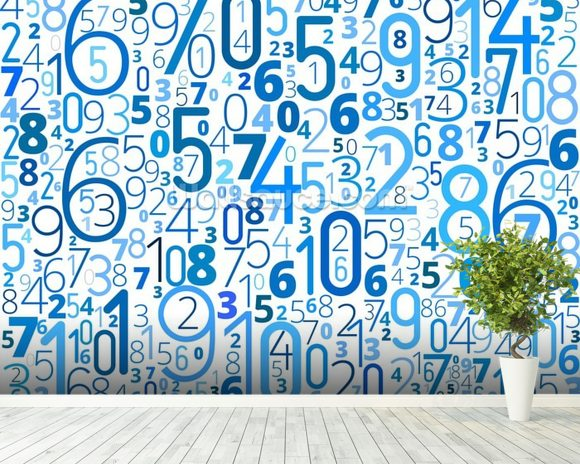 Numbers wall mural room setting