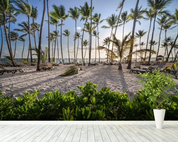 Caribbean Beach Sunrise mural wallpaper room setting