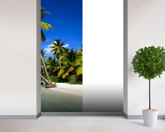 Dominican Beach Palm Tree Wall Mural Room Setting