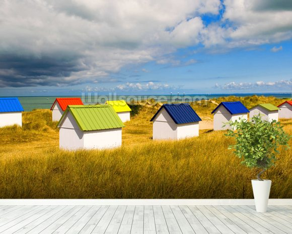 Windswept Beach Huts mural wallpaper room setting