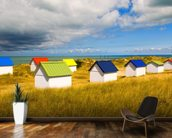 Windswept Beach Huts mural wallpaper kitchen preview