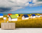 Windswept Beach Huts mural wallpaper living room preview