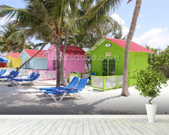 Bahamas Beach Huts mural wallpaper room setting