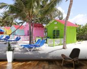 Bahamas Beach Huts mural wallpaper kitchen preview