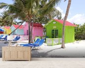 Bahamas Beach Huts mural wallpaper living room preview