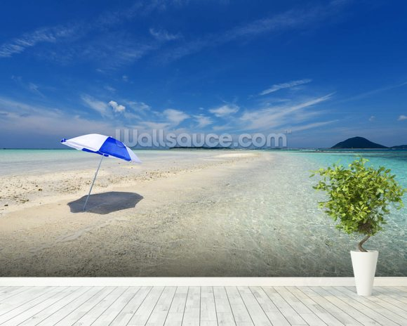 Lone Parasol on Tropical Beach wallpaper mural room setting