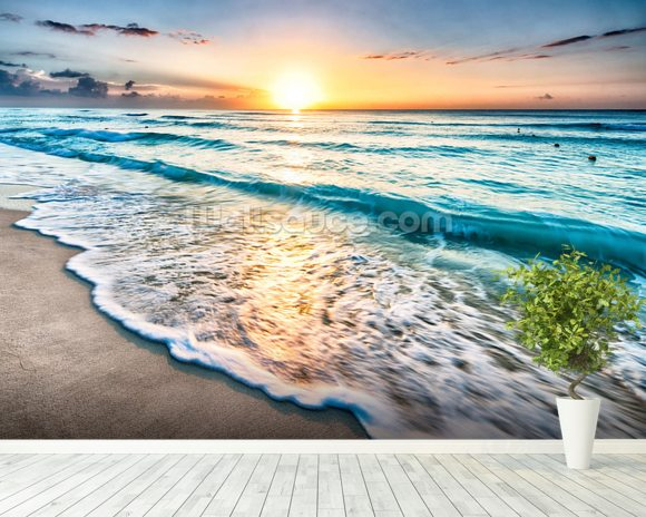 Cancun Beach Sunrise, Mexico mural wallpaper room setting