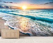 Cancun Beach Sunrise, Mexico mural wallpaper living room preview