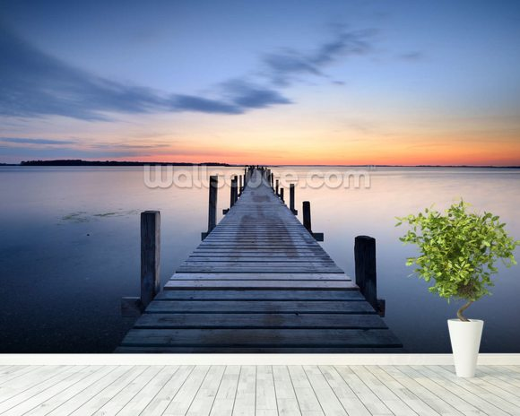 Wooden Jetty Sunrise wall mural room setting