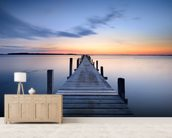 Wooden Jetty Sunrise wall mural living room preview