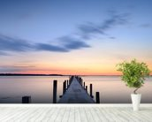 Wooden Jetty Sunrise wall mural in-room view