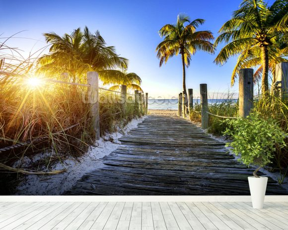 Boardwalk Sunrise mural wallpaper room setting