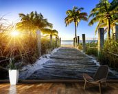 Boardwalk Sunrise mural wallpaper kitchen preview