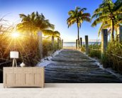 Boardwalk Sunrise mural wallpaper living room preview