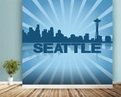 Seattle Skyline Graphic wallpaper mural in-room view