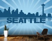 Seattle Skyline Graphic wallpaper mural kitchen preview