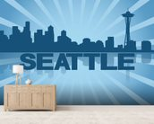 Seattle Skyline Graphic wallpaper mural living room preview