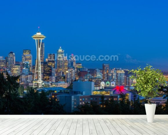 Seattle Skyline and Mount Rainier wall mural room setting