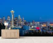 Seattle Skyline and Mount Rainier wall mural living room preview