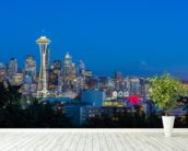 Seattle Skyline and Mount Rainier wall mural in-room view