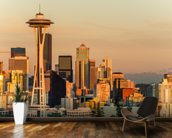 Stunning Sunset over Seattle mural wallpaper kitchen preview
