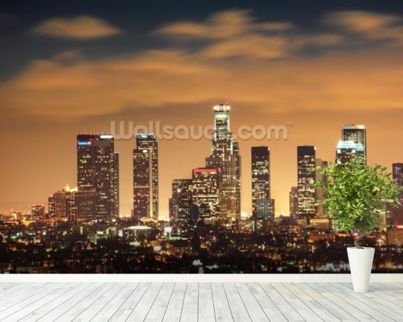 Los Angeles Skyline Sunset wall mural room setting