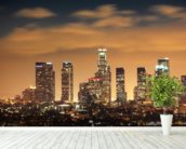 Los Angeles Skyline Sunset wall mural in-room view