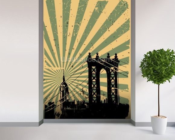 New york vintage poster wallpaper wall mural wallsauce for Acheter poster mural new york