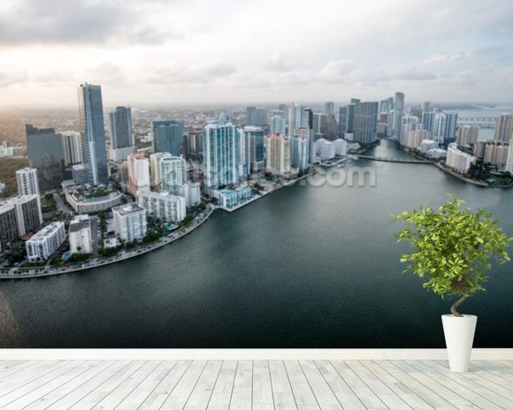 Miami From The Air mural wallpaper room setting
