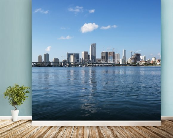 Waterfront Skyline, Miami mural wallpaper room setting
