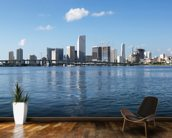 Waterfront Skyline, Miami mural wallpaper kitchen preview