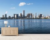 Waterfront Skyline, Miami mural wallpaper living room preview