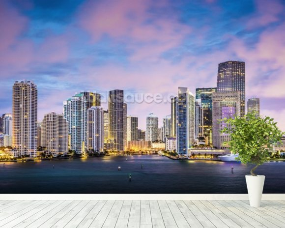 Miami Skyline, Florida wall mural room setting