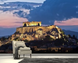 The Acropolis at Night, Athens wallpaper mural
