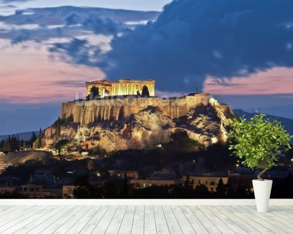 The Acropolis at Night, Athens wallpaper mural room setting