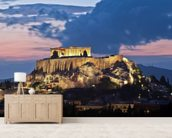 The Acropolis at Night, Athens wallpaper mural living room preview