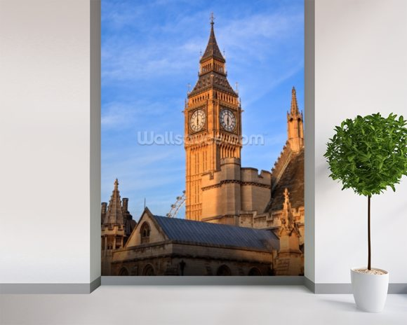 Big Ben and Westminster Abbey mural wallpaper room setting