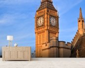 Big Ben and Westminster Abbey mural wallpaper living room preview