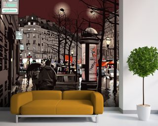 Paris at night wallpaper mural