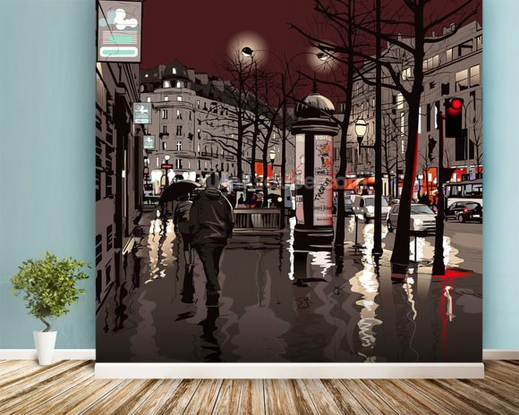 Paris at night wallpaper mural room setting