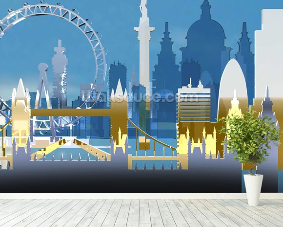 London Skyline Illustration wall mural room setting