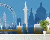 London Skyline Illustration wall mural in-room view