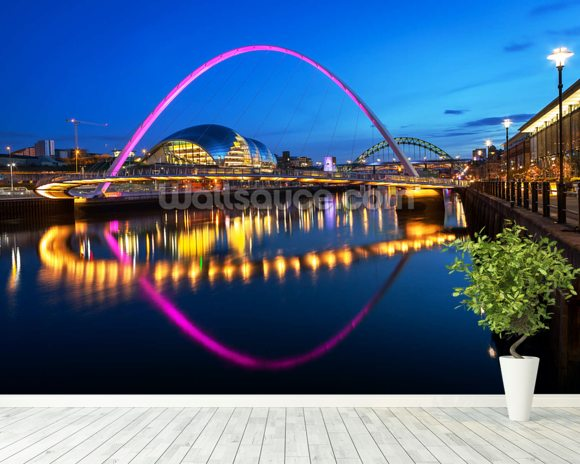 Millennium Bridge Newcastle wallpaper mural room setting